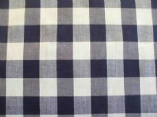 "1"" Gingham Quality Polycotton Fabric in Navy Blue"